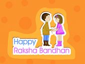 Happy Raksha Bandhan celebrations greeting card design with cute little boy and girl holding their h