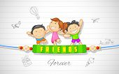 stock photo of  friends forever  - illustration of friends enjoying Happy Friendship Day - JPG