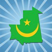 Mauritania map flag on blue sunburst illustration