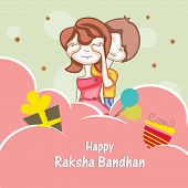 Beautiful concept on occasion of Raksha Bandhan celebrations with cute sister and brother playing on