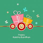 Happy Raksha Bandhan celebration greeting card design with colorful gift boxes, rakhi and colorful b