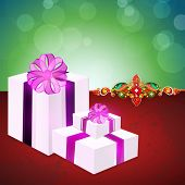 Big gift boxes wrapped with purple ribbon and gift boxes on shiny green and maroon background for Ra