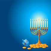 Jewish festival of Hanukkah/Chanukah Background, including Menorah, dreidls/sevivot and Hanukkah Gel