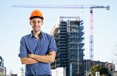 Portrait of an architect in front of a construction site