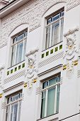 a beautifully renovated art nouveau building. renovation of old town houses.