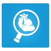 heart and magnifier glass