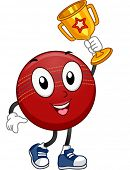 Mascot Illustration Featuring a Cricket Ball Holding a Golden Trophy
