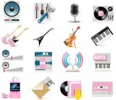 stock photo of tuning fork  - Set of the simple music related icons - JPG