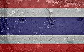 Dry Soil Texture Background On National Thai Flag