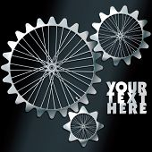 3D machine gears with spokes - vector illustration