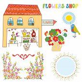 Set for flowers shop - vase bunchs frames bows
