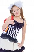 Child with schoolbag. Girl with school bag