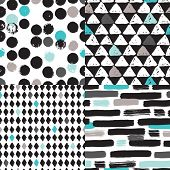 Seamless geometric tribal triangle diamond hand drawn background pattern in vector