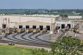 NORTH PLATTE, NEBRASKA, JULY 14, 2014:  A locomotive repair shop in Union Pacific's Bailey rail yard