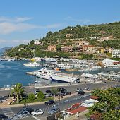 Giglio Island, Italy - July 18, 2014:boats In The Small Harbor Of