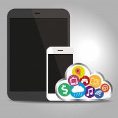 Devices Technology With Cloud Concept