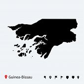 High detailed vector map of Guinea-Bissau with navigation pins.