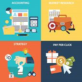 Vector collection of flat and colorful business, marketing and finance concepts. Design elements for