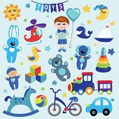 Постер, плакат: Baby boy with Baby toy icons