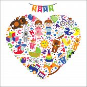 Children toys icons. Composition in the form of heart