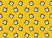 Retro Tv Web Icon. Seamless Pattern. Vector Background.
