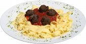 Italian pasta with Tortellini and tomato sauce and meat balls, herbs