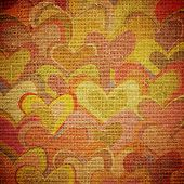Scattered Colorful Hearts On Canvas