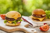 Burgers served outdoor