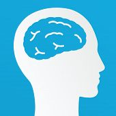 Thinking Man, Creative Brain Idea Concept On A Blue Background.