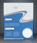 Vector Layout Flyer, Magazine Cover, Or Corporate Design Template Advertisment, Blue Color.