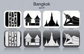 Landmarks of Bangkok. Set of monochrome icons. Editable vector illustration.