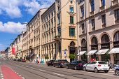 MUNICH, GERMANY - 19 JUNE 2014: Streets of Munich, Germany. Munich is the capital and largest city o