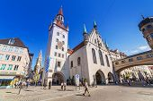 MUNICH, GERMANY - 19 JUNE 2014: The old town hall architecture in Munich, Germany. The Old Town Hall bounds the central square Marienplatz on its east side, was constructed in 1392/1394.