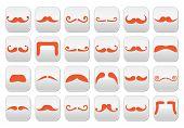 Ginger moustache or mustache vector buttons set