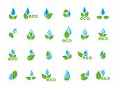 vector set of green leaves and blue water drops