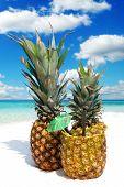 Fruity Pineapple Cocktail On The Sandy Beach