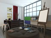 Modern design or art studio with a storage unit, comfortable circular upholstered seat and large eas