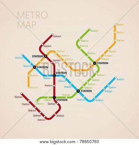 Subway Map Design.Metro Or Subway Map Design Template Transportation Concept Poster
