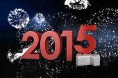 2014 and 2015 against white fireworks exploding on black background