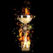 Golden trophy cup with fire on black background, sports poster