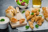 picture of endive  - Salmon in herb batter with spicy dressing  - JPG