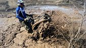 image of overcoming obstacles  - Extreme driving ATV on overcoming mud obstacles - JPG