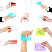 Collage of hands holding empty business cards, credit cards and cards with text isolated white