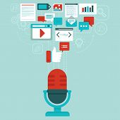 image of microphone  - Vector podcast concept in flat style  - JPG