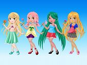 Cute Girls Cartoon Character