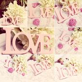 collection set of love word, wedding details, collage