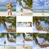 three happy children on tropical sea, beach and sky background set, collection, collage, summer vacation