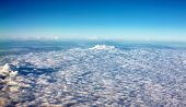 image of stratus  - view colored clouds from an airplane at dawn - JPG