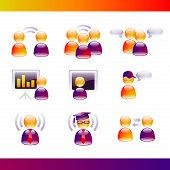 Glossy People Communications Icons