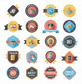 Shopping Badge Banner Flat Design Background Set, Eps10
